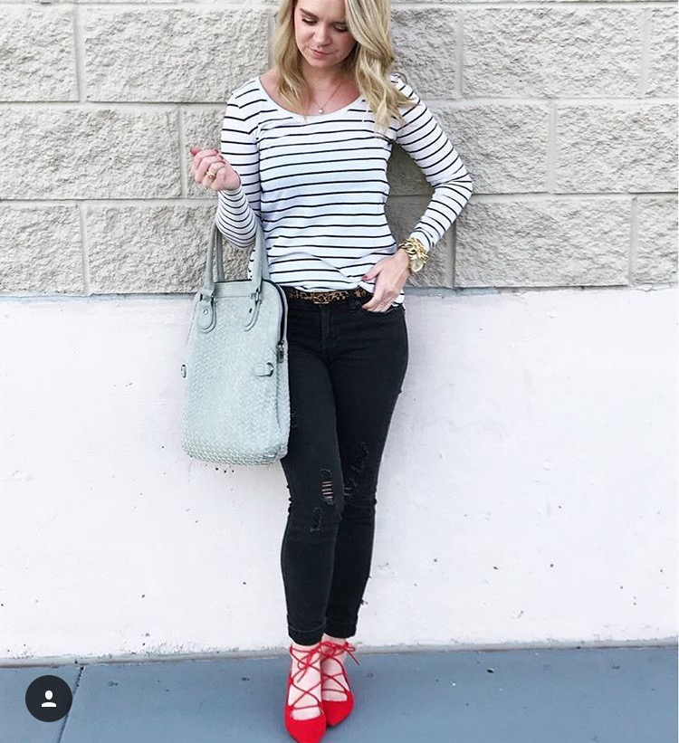 Stripes and Red Shoes