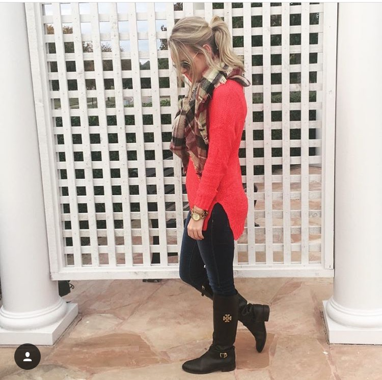 Tory Burch Boots & Blanket Scarf